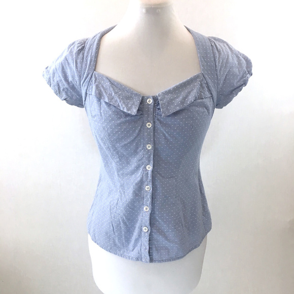 Anthropologie Tops - Anthropologie Odille blue pinup retro blouse Sz 2